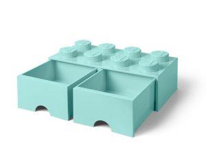 lego 5006182 aufbewahrungsstein mit 8 noppen und schubfachern in wasserblau