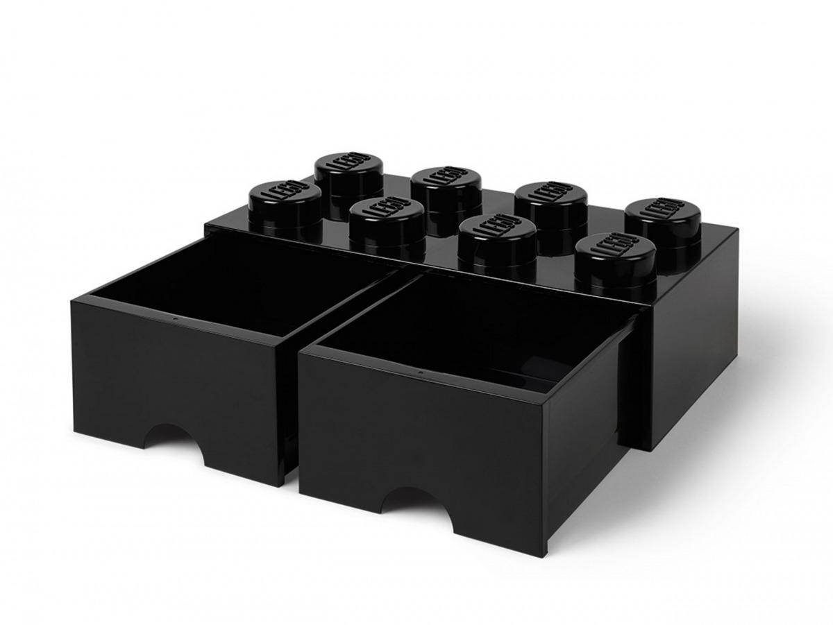 lego 5006248 aufbewahrungsstein mit 8 noppen und schubfachern in schwarz scaled